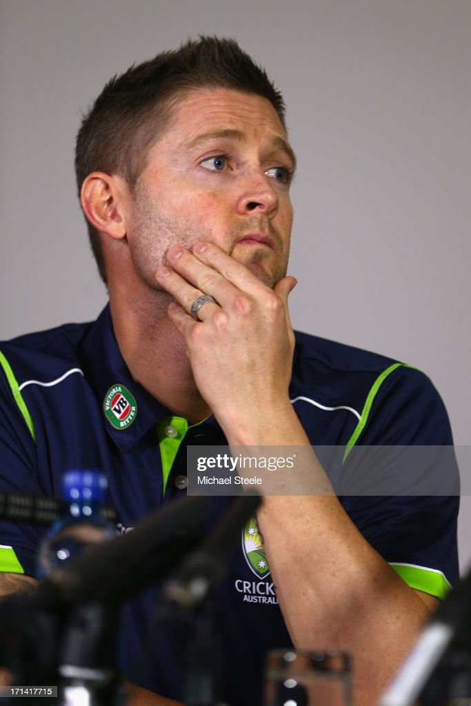 <a gi-track='captionPersonalityLinkClicked' href=/galleries/search?phrase=Michael+Clarke+-+Cricket+Player&family=editorial&specificpeople=175853 ng-click='$event.stopPropagation()'>Michael Clarke</a> the captain of Australia address the media at a Australia cricket press conference following the sacking of head coach Mickey Arthur on June 24, 2013 in Bristol, England.