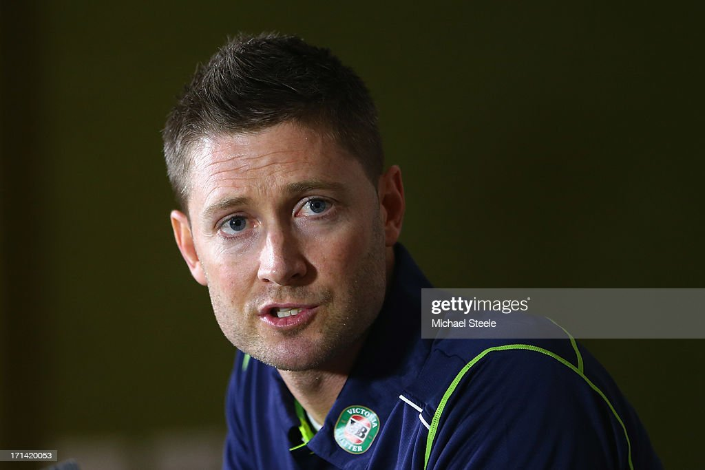 <a gi-track='captionPersonalityLinkClicked' href=/galleries/search?phrase=Michael+Clarke+-+Cricket+Player&family=editorial&specificpeople=175853 ng-click='$event.stopPropagation()'>Michael Clarke</a> the captain of Australia address the media during a Australia cricket press conference following the sacking of head coach Mickey Arthur on June 24, 2013 in Bristol, England.