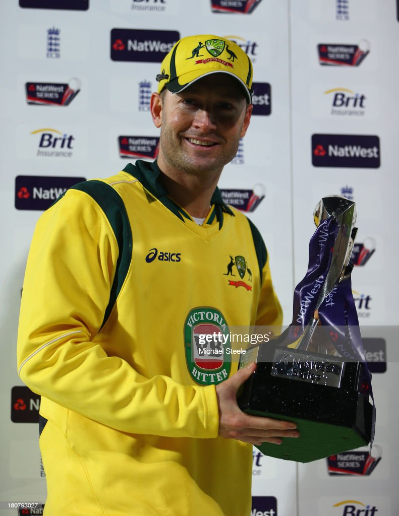 <a gi-track='captionPersonalityLinkClicked' href=/galleries/search?phrase=Michael+Clarke+-+Cricket+Player&family=editorial&specificpeople=175853 ng-click='$event.stopPropagation()'>Michael Clarke</a> the captain of Australia poses with the winners trophy after his sides 2-1 series victory during the 5th NatWest Series ODI between England and Australia at the Ageas Bowl on September 16, 2013 in Southampton, England.