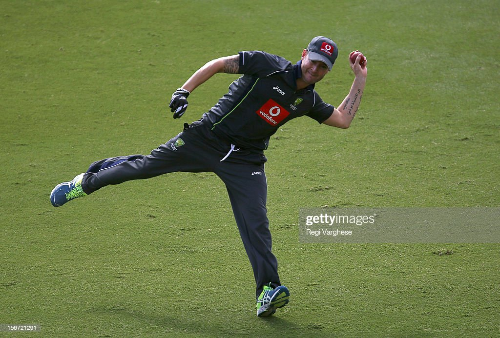 Michael Clarke throws the ball during an Australian training session at Adelaide Oval on November 20, 2012 in Adelaide, Australia.