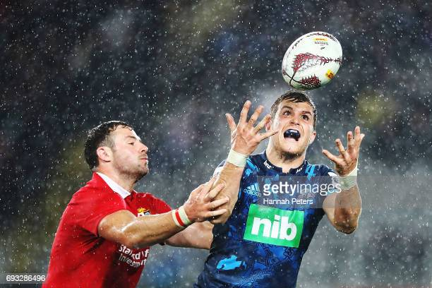 Michael Collins of the Blues collects the high ball during the match between the Auckland Blues and the British Irish Lions at Eden Park on June 7...