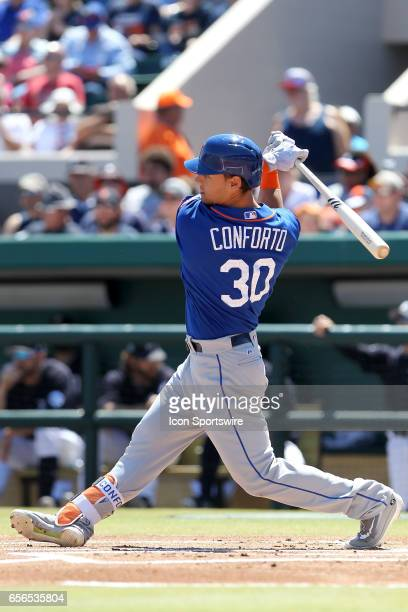 Michael Conforto of the Mets at bat during the spring training game between the New York Mets and the Detroit Tigers on March 20 2017 at Joker...