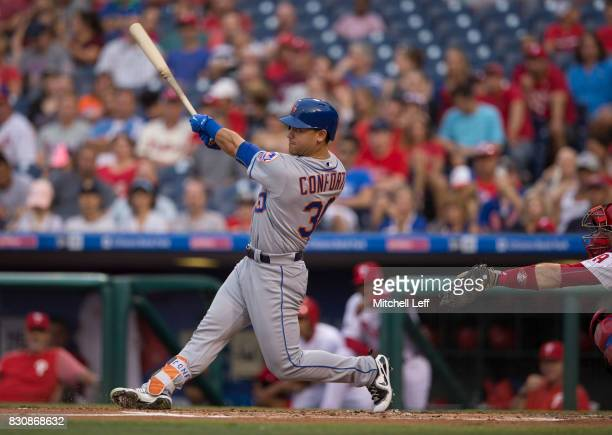 Michael Conforto of the New York Mets bats against the Philadelphia Phillies at Citizens Bank Park on August 10 2017 in Philadelphia Pennsylvania The...