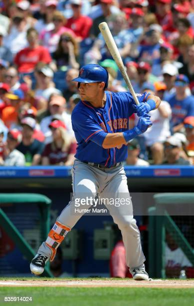 Michael Conforto of the New York Mets bats during a game against the Philadelphia Phillies at Citizens Bank Park on August 13 2017 in Philadelphia...