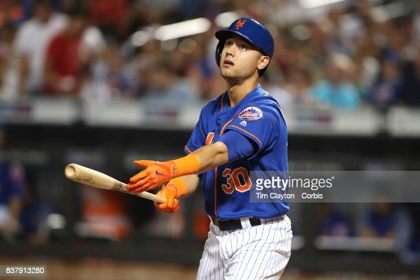 Michael Conforto of the New York Mets batting during the Miami Marlins Vs New York Mets regular season MLB game at Citi Field on August 19 2017 in...