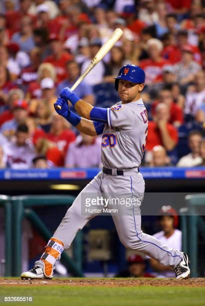 Michael Conforto of the New York Mets during a game against the Philadelphia Phillies at Citizens Bank Park on August 12 2017 in Philadelphia...