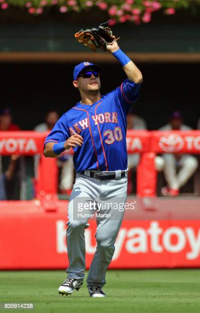Michael Conforto of the New York Mets during a game against the Philadelphia Phillies at Citizens Bank Park on August 13 2017 in Philadelphia...