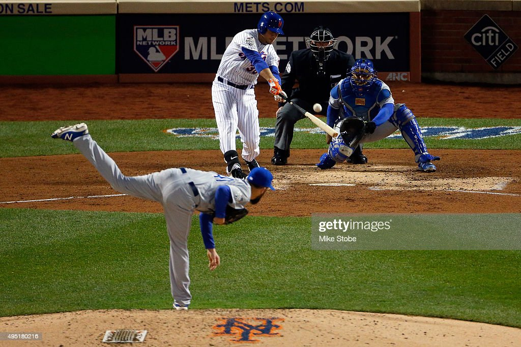 <a gi-track='captionPersonalityLinkClicked' href=/galleries/search?phrase=Michael+Conforto&family=editorial&specificpeople=14076889 ng-click='$event.stopPropagation()'>Michael Conforto</a> #30 of the New York Mets hits a a solo home run in the fifth inning against <a gi-track='captionPersonalityLinkClicked' href=/galleries/search?phrase=Danny+Duffy&family=editorial&specificpeople=5971971 ng-click='$event.stopPropagation()'>Danny Duffy</a> #41 of the Kansas City Royals during Game Four of the 2015 World Series at Citi Field on October 31, 2015 in the Flushing neighborhood of the Queens borough of New York City.