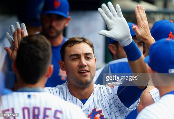 Michael Conforto of the New York Mets in action against the Los Angeles Dodgers at Citi Field on August 5 2017 in the Flushing neighborhood of the...