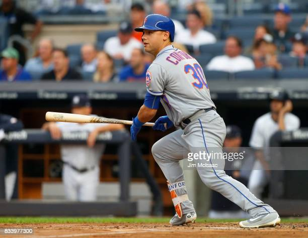Michael Conforto of the New York Mets in action against the New York Yankees at Yankee Stadium on August 15 2017 in the Bronx borough of New York...