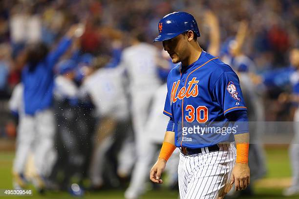 Michael Conforto of the New York Mets reacts after the Kansas City Royals defeat the New York Mets to win Game Five of the 2015 World Series at Citi...