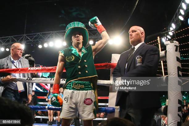 Michael Conlan enters the ring for his super bantamweight bout against Tim Ibarra at The Theater at Madison Square Garden on March 17 2017 in New...