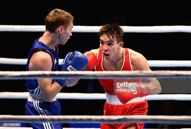 Michael Conlan of Ireland en route to beating Dzmitry Asanau of Belarus in the Men's Bantam during the semi finals of the AIBA World Boxing...