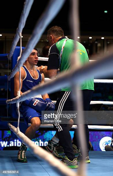 Michael Conlan of Ireland rests in his corner after the first round against Murodjon Akhmadaliev of Uzbekistan in the final of the Men's Bantam...