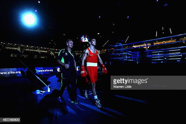 Michael Conlan of Ireland walks to the ring to face Dzmitry Asanau of Belarus in the Men's Bantam during the semi finals of the AIBA World Boxing...