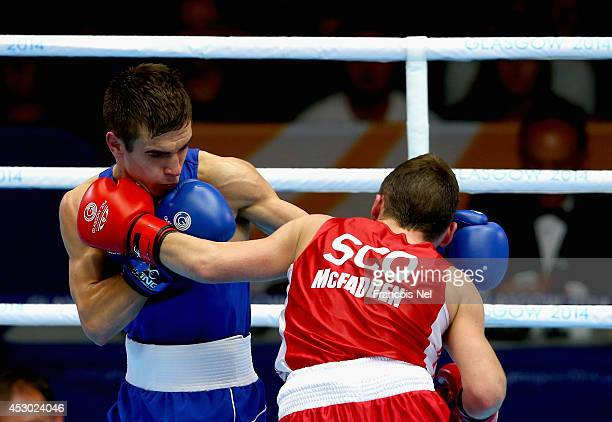 Michael Conlan of Northen Ireland competes against Sean McGoldrick of Wales during the Men's Bantam 56kg SemiFinals Boxing at Scottish Exhibition And...