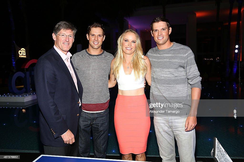 (L-R Michael Corbat, Bob Bryan, Caroline Wozniacki, and Mike Bryan attend the Taste Of Tennis Miami Presented By Citi at W South Beach on March 23, 2015 in Miami Beach, Florida.