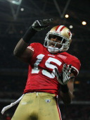 Michael Crabtree of San Francisco 49ers celebrates as he scores their second touchdown during the NFL International Series match between Denver...