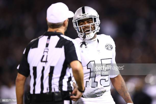 Michael Crabtree of the Oakland Raiders reacts after being flagged for pass interference on a catch in the endzone negating a touchdown against the...