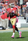 Michael Crabtree of the San Francisco 49ers catches a pass in pregame warmups before the game against the Cleveland Browns at Candlestick Park on...