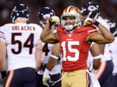 Michael Crabtree of the San Francisco 49ers celebrates after a 20 yard pass reception in the second quarter of the game at Candlestick Park on...