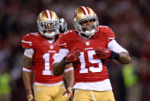 Michael Crabtree of the San Francisco 49ers celebrates after gaining twentytwo yards on a pass play against the Atlanta Falcons during the third...