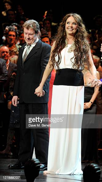 Michael Crawford and Sarah Brightman bow on stage during the 25th Anniversary performance of Andrew Lloyd Webber's 'The Phantom Of The Opera'...