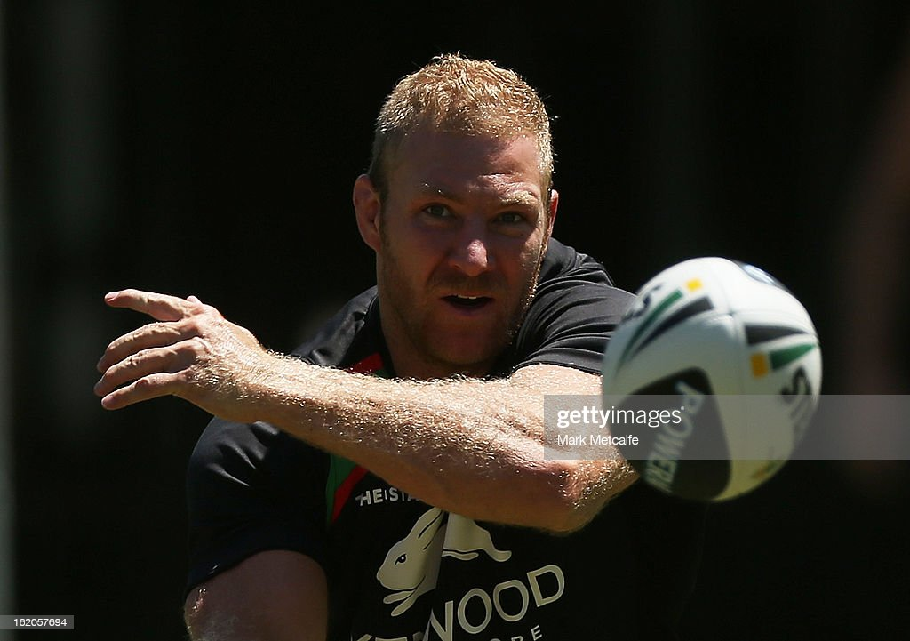 Michael Crocker passes the ball during a South Sydney Rabbitohs NRL training session at the National Centre for Indigenous Excellence on February 19, 2013 in Sydney, Australia.