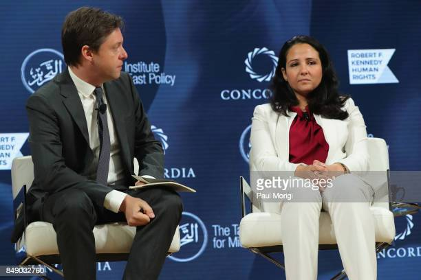 Michael Crowley Senior Foreign Affairs Correspondent Politico and Aya Hijazi President Belady Island for Humanity speak at The 2017 Concordia Annual...