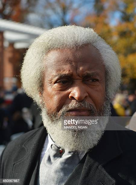 Michael Crutcher portraying Frederick Douglass is seen seen before the start of the commemoration ceremony for the 150th anniversary of US President...