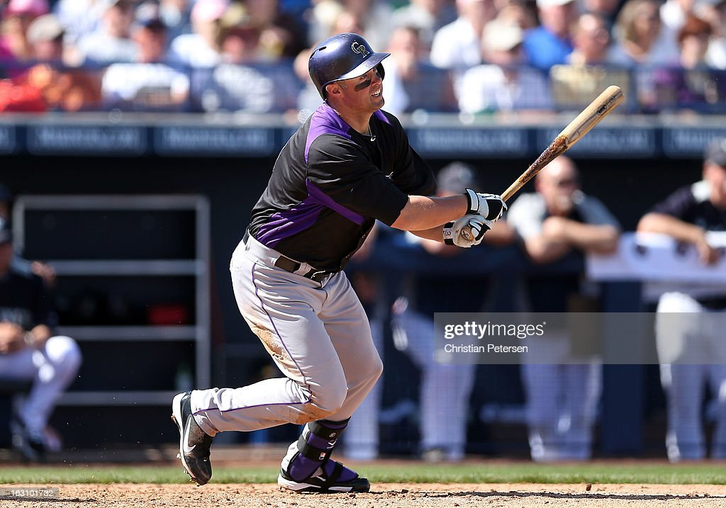 <a gi-track='captionPersonalityLinkClicked' href=/galleries/search?phrase=Michael+Cuddyer&family=editorial&specificpeople=208127 ng-click='$event.stopPropagation()'>Michael Cuddyer</a> #3 of the Colorado Rockies bats against the Seattle Mariners during the spring training game at Peoria Stadium on March 4, 2013 in Peoria, Arizona.
