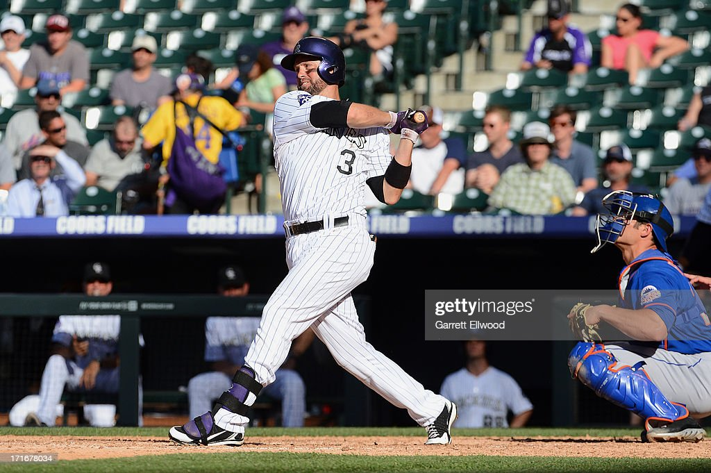 <a gi-track='captionPersonalityLinkClicked' href=/galleries/search?phrase=Michael+Cuddyer&family=editorial&specificpeople=208127 ng-click='$event.stopPropagation()'>Michael Cuddyer</a> #3 of the Colorado Rockies bats during a game against the New York Mets at Coors Field on June 27, 2013 in Denver, Colorado. Cuddyer got a hit for a team-record 24th straight game.
