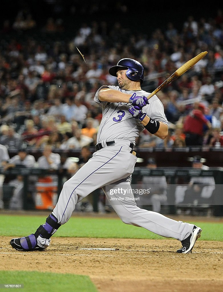 <a gi-track='captionPersonalityLinkClicked' href=/galleries/search?phrase=Michael+Cuddyer&family=editorial&specificpeople=208127 ng-click='$event.stopPropagation()'>Michael Cuddyer</a> #3 of the Colorado Rockies breaks his bat as he grounds out against the Arizona Diamondbacks in the fifth inning at Chase Field on April 26, 2013 in Phoenix, Arizona.