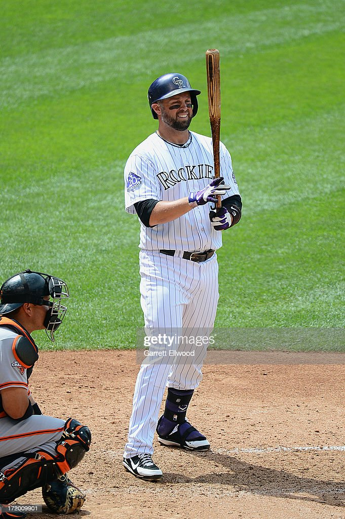 <a gi-track='captionPersonalityLinkClicked' href=/galleries/search?phrase=Michael+Cuddyer&family=editorial&specificpeople=208127 ng-click='$event.stopPropagation()'>Michael Cuddyer</a> #3 of the Colorado Rockies comes to the plate during the game against the San Francisco Giants at Coors Field on June 30, 2013 in Denver, Colorado.