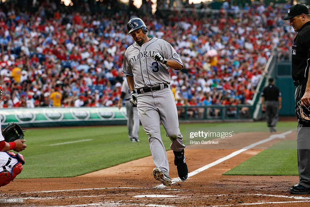 <a gi-track='captionPersonalityLinkClicked' href=/galleries/search?phrase=Michael+Cuddyer&family=editorial&specificpeople=208127 ng-click='$event.stopPropagation()'>Michael Cuddyer</a> #3 of the Colorado Rockies crosses home plate after hitting a home run in the third inning of the game against the Philadelphia Phillies at Citizens Bank Park on June 20, 2012 in Philadelphia, Pennsylvania.