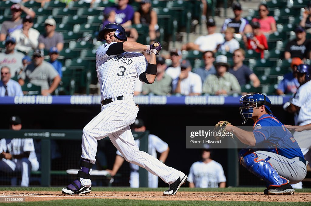 <a gi-track='captionPersonalityLinkClicked' href=/galleries/search?phrase=Michael+Cuddyer&family=editorial&specificpeople=208127 ng-click='$event.stopPropagation()'>Michael Cuddyer</a> #3 of the Colorado Rockies extends his career-long hitting streak to 24 games, breaking a team record during the second inning of the game against the New York Mets at Coors Field on June 27, 2013 in Denver, Colorado. Photo by Garrett W. Ellwood/Getty Images)