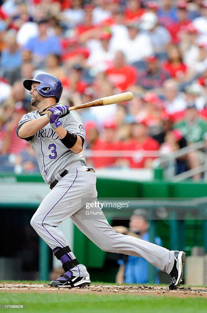 <a gi-track='captionPersonalityLinkClicked' href=/galleries/search?phrase=Michael+Cuddyer&family=editorial&specificpeople=208127 ng-click='$event.stopPropagation()'>Michael Cuddyer</a> #3 of the Colorado Rockies hits a home run against the Washington Nationals at Nationals Park on June 23, 2013 in Washington, DC.