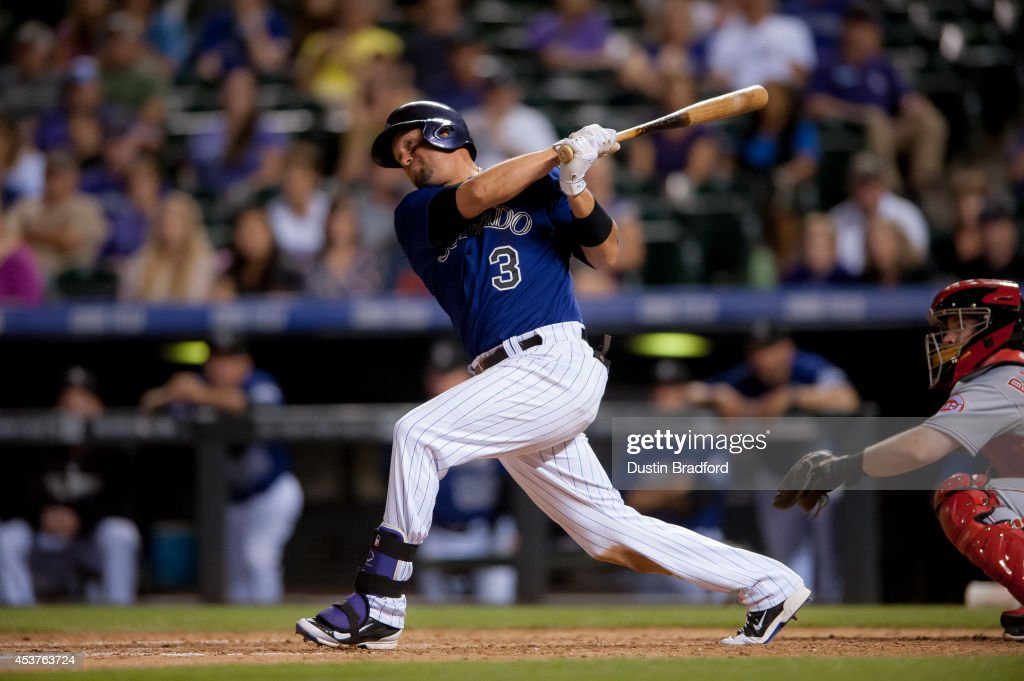 <a gi-track='captionPersonalityLinkClicked' href=/galleries/search?phrase=Michael+Cuddyer&family=editorial&specificpeople=208127 ng-click='$event.stopPropagation()'>Michael Cuddyer</a> #3 of the Colorado Rockies hits a solo home run hit in the sixth inning during the second game of a split double header at Coors Field on August 17, 2014 in Denver, Colorado. Cuddyer would complete a cycle during the game.