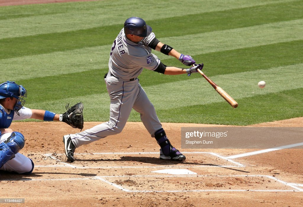 <a gi-track='captionPersonalityLinkClicked' href=/galleries/search?phrase=Michael+Cuddyer&family=editorial&specificpeople=208127 ng-click='$event.stopPropagation()'>Michael Cuddyer</a> #3 of the Colorado Rockies hits an RBI soingle in the first inning against the Los Angeles Dodgers at Dodger Stadium on July 14, 2013 in Los Angeles, California. The Rockies won 3-1.