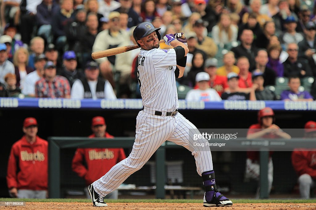 Michael Cuddyer #3 of the Colorado Rockies takes an at bat against the Arizona Diamondbacks at Coors Field on April 21, 2013 in Denver, Colorado. The Diamondbacks defeated the Rockies 5-4.