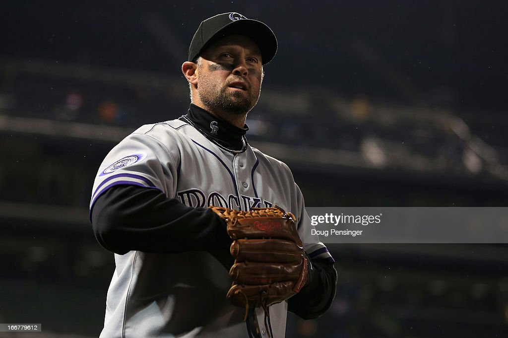 <a gi-track='captionPersonalityLinkClicked' href=/galleries/search?phrase=Michael+Cuddyer&family=editorial&specificpeople=208127 ng-click='$event.stopPropagation()'>Michael Cuddyer</a> #3 of the Colorado Rockies takes the field against the New York Mets at Coors Field on April 16, 2013 in Denver, Colorado.