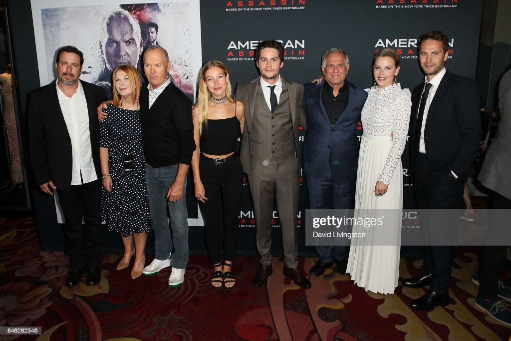 Michael Cuesta, Terry Press, Michael Keaton, Charlotte Vega, Dylan O'Brien, Leslie Moonves, Lisa Flynn and Taylor Kitsch attend a Screening of CBS Films and Lionsgate's 'American Assassin' at TCL Chinese Theatre on September 12, 2017 in Hollywood, California.