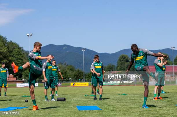 Michael Cuisance and Denis Zakaria during a training session at the Training Camp of Borussia Moenchengladbach on July 21 2017 in RottachEgern Germany