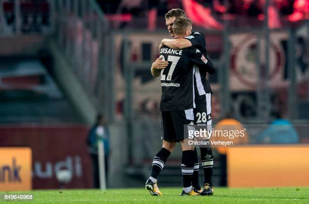 Michael Cuisance and Matthias Ginter of Borussia Moenchengladbach celebrate after the Bundesliga match between Borussia Moenchengladbach and VfB...