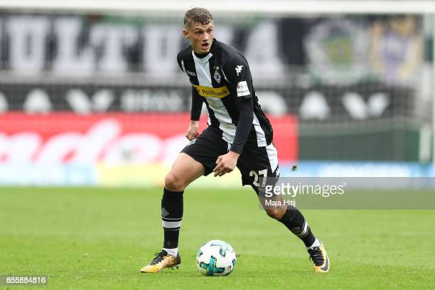 Michael Cuisance of Moenchengladbach controls the ball during the Bundesliga match between Borussia Moenchengladbach and Hannover 96 at BorussiaPark...