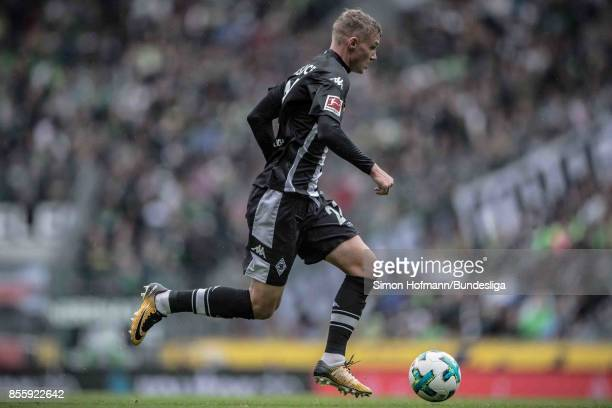 Michael Cuisance of Moenchengladbach in action during the Bundesliga match between Borussia Moenchengladbach and Hannover 96 at BorussiaPark on...