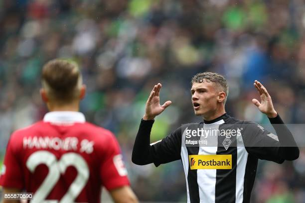 Michael Cuisance of Moenchengladbach reacts during the Bundesliga match between Borussia Moenchengladbach and Hannover 96 at BorussiaPark on...
