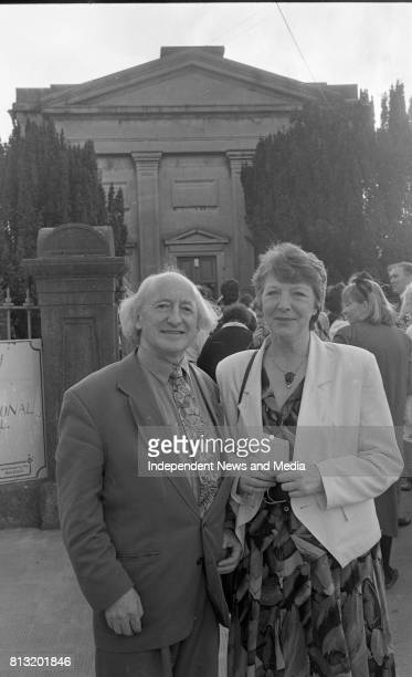 Michael D Higgins is pictured with his wife Sabina at the Arts Centre Nun's Island during the Galway Arts Festival