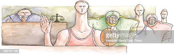 Michael Dabrowa color illustration of athletes sitting in a jury box next to a judge Daily Press /MCT via Getty Images