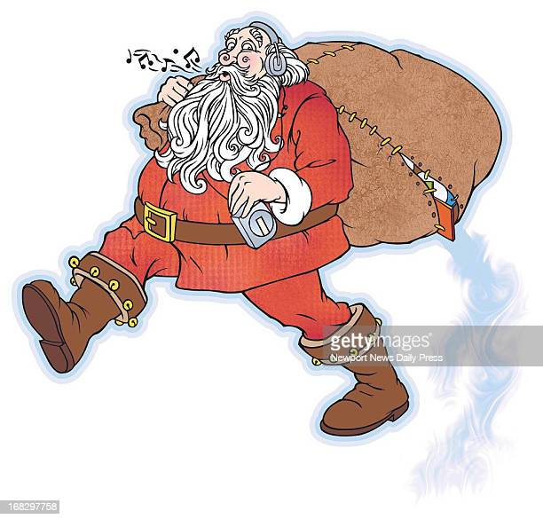 Michael Dabrowa color illustration of Santa Claus listening to a CD and carrying a bustingattheseams pack Daily Press /MCT via Getty Images